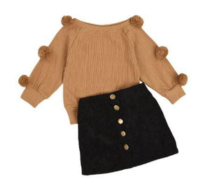 Pom Pom Sweater with Button Skirt Outfit