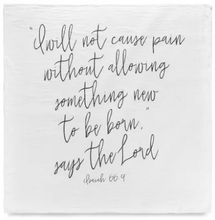 Modern Burlap - Organic Cotton Muslin Swaddle Blanket - Isaiah 66:9 - Bitsy Bug Boutique