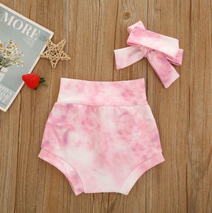 Tie Dye Shorts and Bow Set
