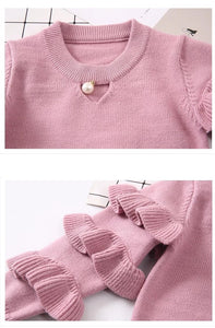Knitted Pearl Ruffle Sweater - Bitsy Bug Boutique