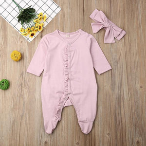 Ruffle Onesie with Headband (Multiple Colors)