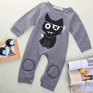 Cat Jumpsuit Romper 6 Mo / Gray Onesie