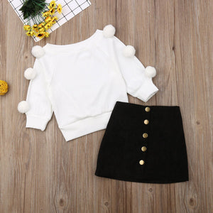 Pom Pom Sweater with Button Skirt Outfit - Bitsy Bug Boutique