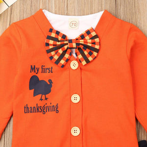 Thanksgiving Bow Tie Outfit - Bitsy Bug Boutique