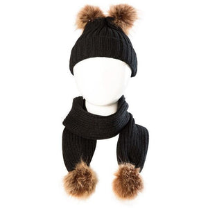 Fur Pom Pom Hat and Scarf Set