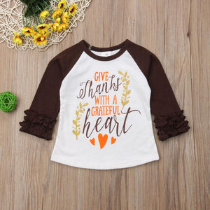 Give Thanks Ruffle Sleeve Shirt