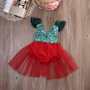 Fancy Christmas Romper Tutu Dress - Bitsy Bug Boutique