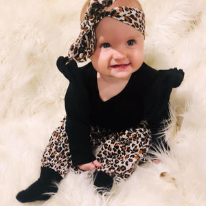 Leopard Print Outfit with Headband - Bitsy Bug Boutique