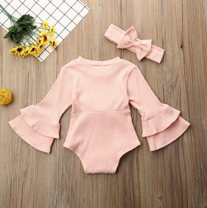 Flare Sleeve Bow Onesies with Headband