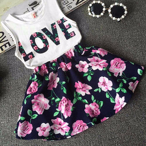 T Shirt + Floral Skirt - Bitsy Bug Boutique