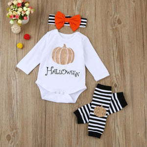 Halloween Outfit + Bow White / 3 Mo Holiday Theme