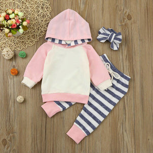 Girls Striped Winter Outfit Pink / 24 Mo Set
