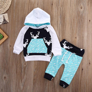 Aqua Deer Hoodie Pants Outfit - Bitsy Bug Boutique