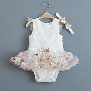 Summer Lace Tutu Dress with Matching Headband (Multiple Colors) - Bitsy Bug Boutique