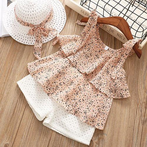 Chiffon Blouse + Shorts Hat Set (Multiple Colors) Pink / 2 Toddler Outfit