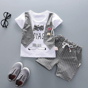 Checkered Vest With Shorts Outfit (Multiple Colors) Gray / 6 Mo
