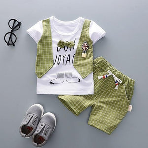 Checkered Vest With Shorts Outfit (Multiple Colors) Green / 6 Mo