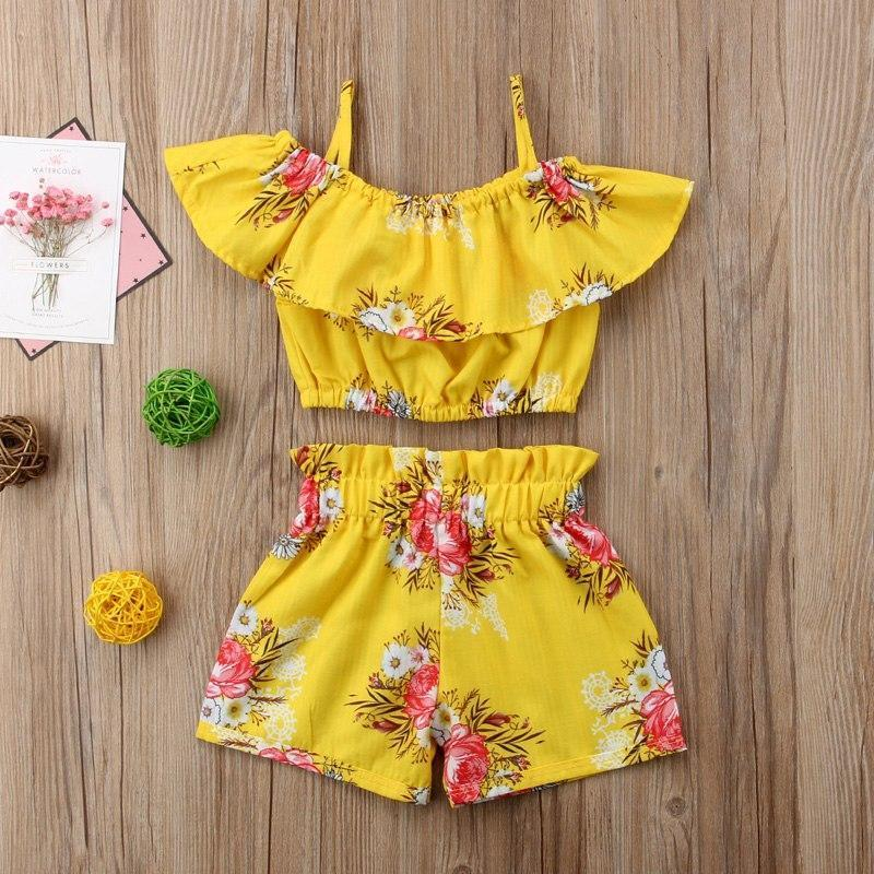 Yellow Floral Top Shorts Outfit / 3 Toddler Set