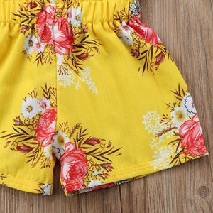 Yellow Floral Top Shorts Outfit