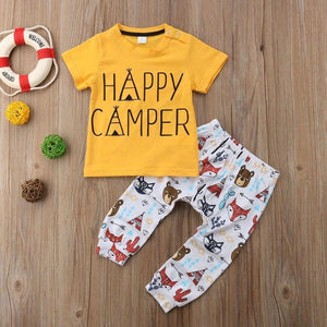 Happy Camper T-Shirt Animal Pants Outfit 6 Mo / Yellow Set