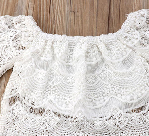 White Lace Top with Shorts & Ruffled Maxi Skirt Set - Bitsy Bug Boutique