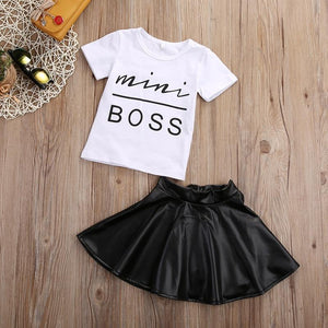 Mini Boss T-Shirt Satin Skirt Outfit - Bitsy Bug Boutique