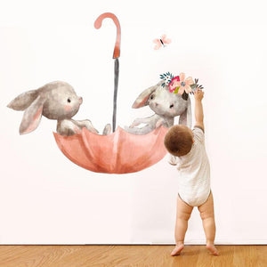 Rabbit's Umbrella Wall Stickers - Bitsy Bug Boutique