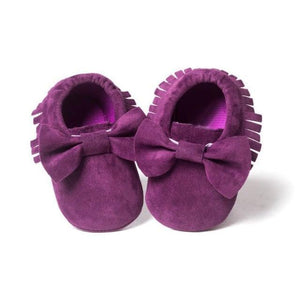 Fringed Bow Moccasin Shoes - Bitsy Bug Boutique