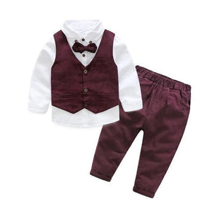 Gentleman Bow Tie Outfit Maroon / 8 Toddler