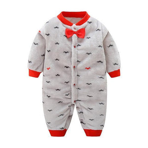 Mustache Winter Jumpsuit - Bitsy Bug Boutique