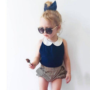 Chiffon Blouse Stripes Shorts Outfit Set