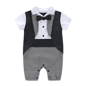 Gentlemens Plaid Outfit Black/white / 6 Mo