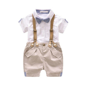 Gentleman Bow Tie Short Sleeve Shorts Outfit White / 4 Toddler Set