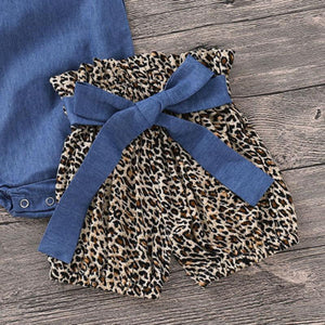 Denim Leopard Sleeve Romper Shorts Headband Outfit - Bitsy Bug Boutique