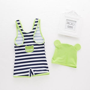 Striped Frog Swimsuit Cap - Bitsy Bug Boutique