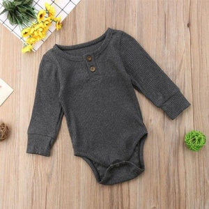 Buttoned Romper Gray / 3 Mo Onesie