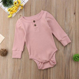 Buttoned Romper Pink / 3 Mo Onesie