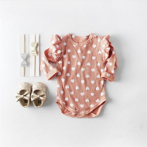 Love Heart Puffed Sleeved Romper - Bitsy Bug Boutique