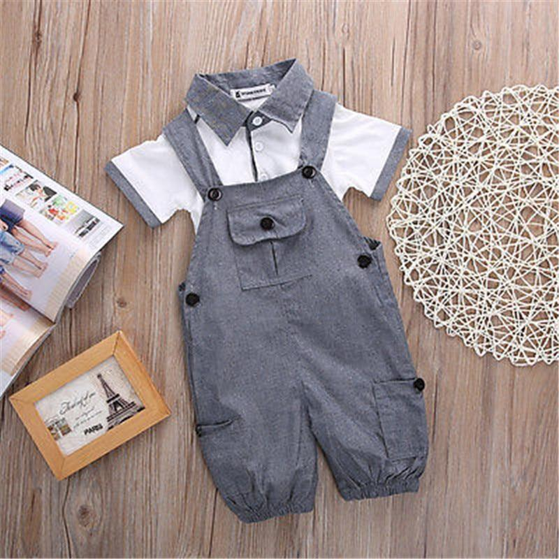 Short Suspender Gentleman Outfit Gray / 6 Mo Set