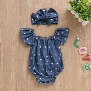 Blue Heart Romper Bow Headband Set - Bitsy Bug Boutique