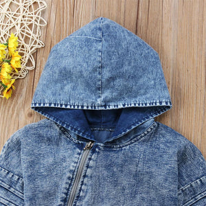 Denim Hooded Romper - Bitsy Bug Boutique