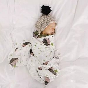 Cotton Swaddle Blanket (Multiple Patterns) Hedgehog / 47.2X 47.2 Muslin Baby