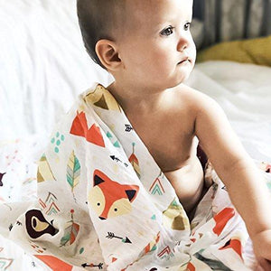 Cotton Swaddle Blanket (Multiple Patterns) Fox / 47.2X 47.2 Muslin Baby