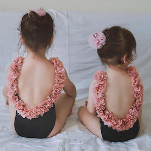Pink Frill Matching Swimsuits (2 Colors)