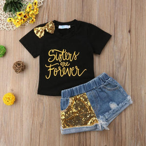 Sisters Forever Sequin T-Shirt Denim Shorts Outfit - Bitsy Bug Boutique