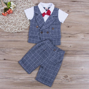 Gentleman Plaid Bow Tie Shirt Waistcoat Shorts Outfit (2 Colors) Gray / 12 Mo
