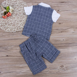 Gentleman Plaid Bow Tie Shirt Waistcoat Shorts Outfit (2 Colors)