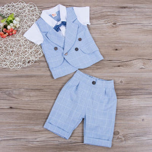 Gentleman Plaid Bow Tie Shirt Waistcoat Shorts Outfit (2 Colors) Sky Blue / 12 Mo