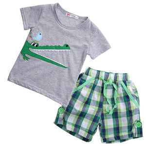 Crocodile T-Shirt Plaid Shorts Outfit Gray / 2 Toddler