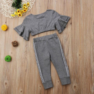 Flared Sleeved Top Striped Pants Outfit - Bitsy Bug Boutique